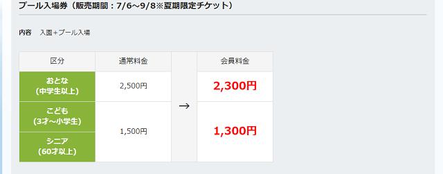 SEIBU PRINCE CLUB プール入場券