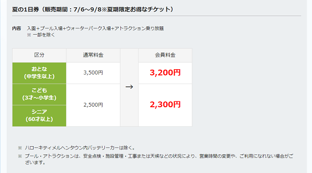 SEIBU PRINCE CLUB カード夏の1日券